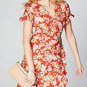J. Jill Papaya Red Floral Wrap Dress - 12 - NWT